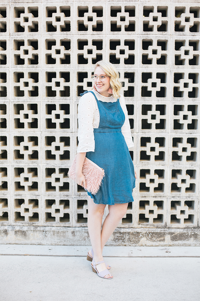 austin style blogger writes like a girl pastel and denim dress outfit1