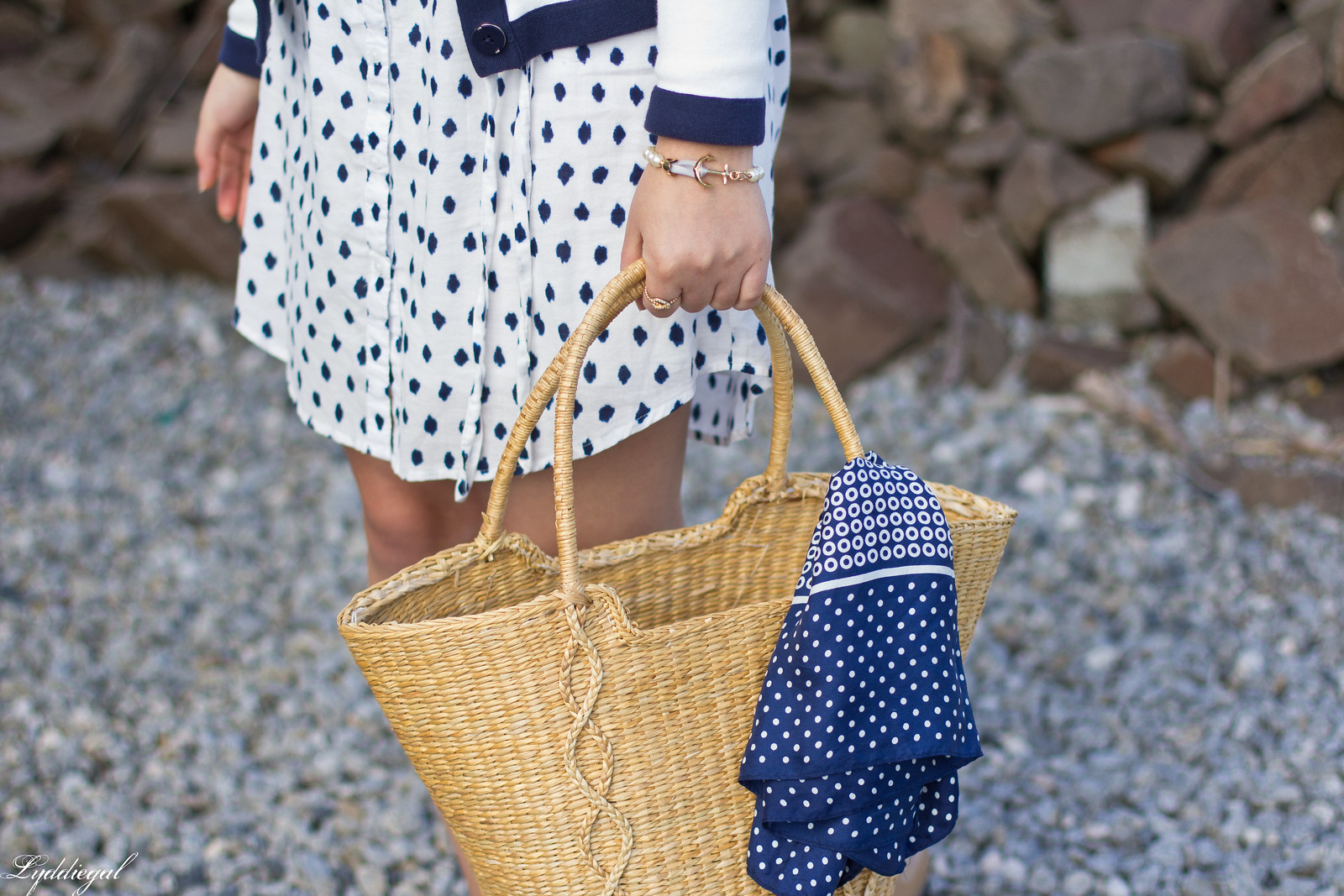 polka dot shirt dress, cardigan, straw market bag-6.jpg