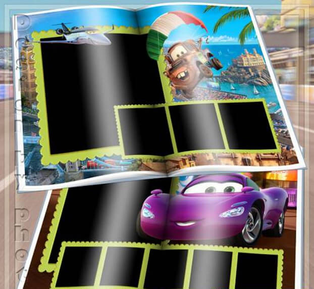 "Children photobook for Photoshop with the heroes of the cartoon ""Cars"""