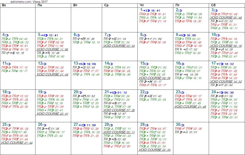 Астрологический календарь на ИЮНЬ 2017. Аспекты планет, ингрессии в знаки, фазы Луны и Луна без курса