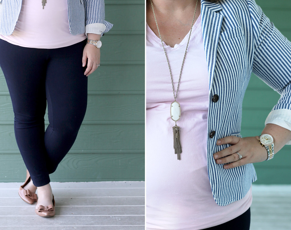 seersucker blazer, navy maternity pencil pants, bow flats 1