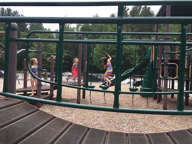 Kenna's last day of 2nd grade: swimming at the lake and playground with friends