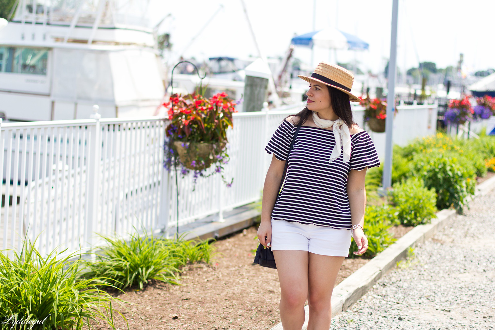 striped off the shoulder top, white shorts, straw hat-1.jpg