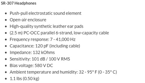 sr-307 tech specs