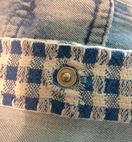 Working around the snaps of the Boro vest.