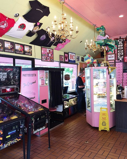 "Inside Voodoo Doughnuts yesterday. I got ""gay bar"" and ""triple chocolate penetration"" (who only gets one donut?)."