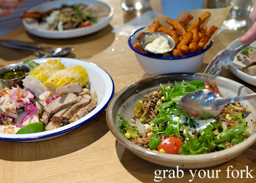 Roast corn, woodfired corn and rotisserie lamb salad at the Merchants of Ultimo at Broadway Shopping Centre
