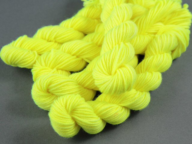 Merino DK 20g mini skeins 'Health and Safety Gone Mad' (neon yellow)