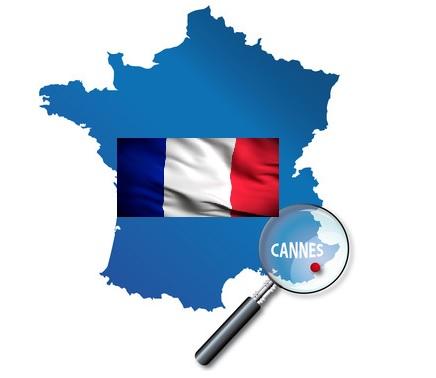 Mapa de situación de Cannes en Francia