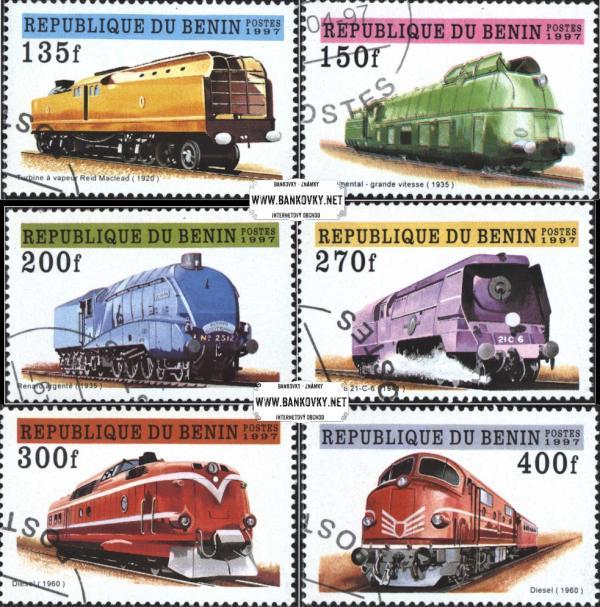 Známky Benin 1997 Staré lokomotívy, razítkovaná séria