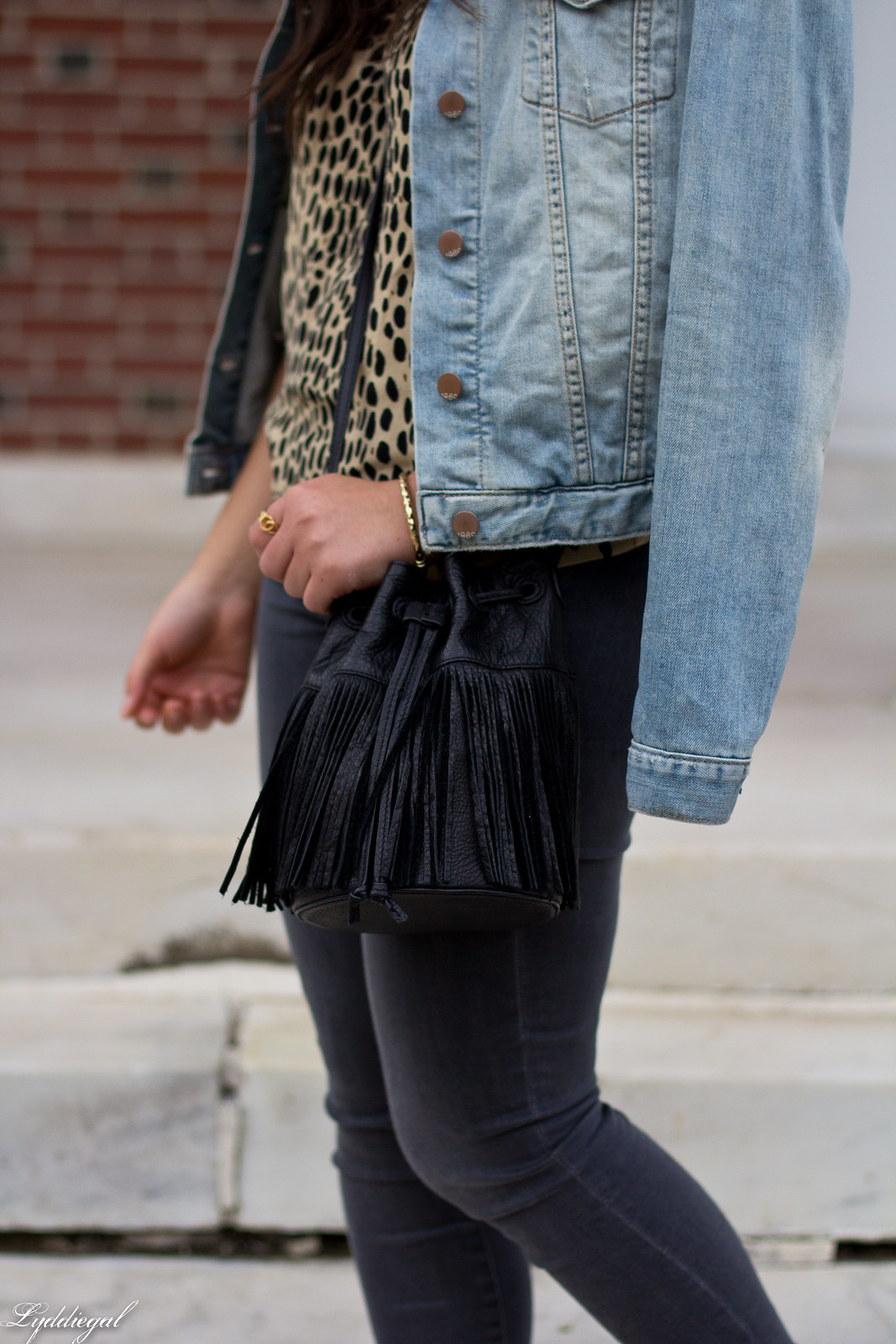 leopard blouse, grey jeans, denim jacket, fringe bag-2.jpg