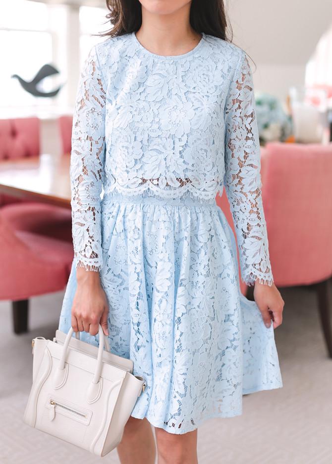 elegant blue lace dress white celine nano bag petite fashion blog