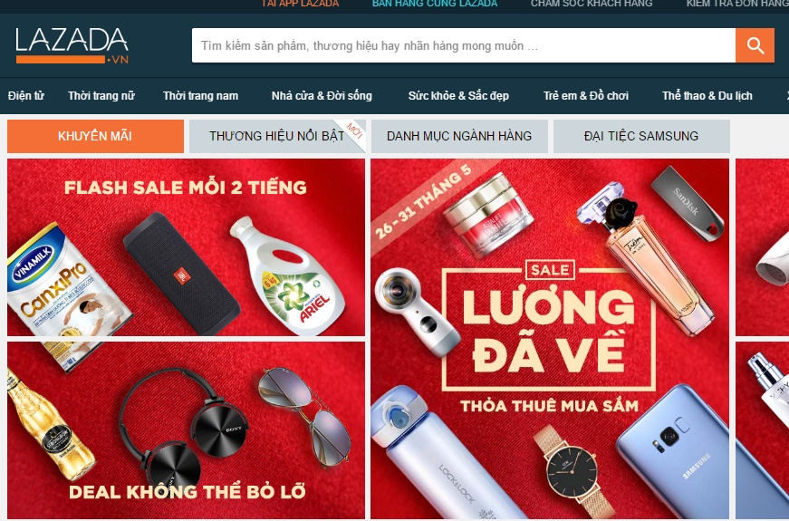 Giao diện website Lazada.