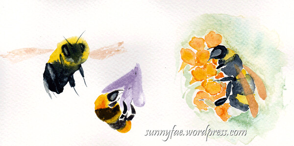 3 watercolour bees