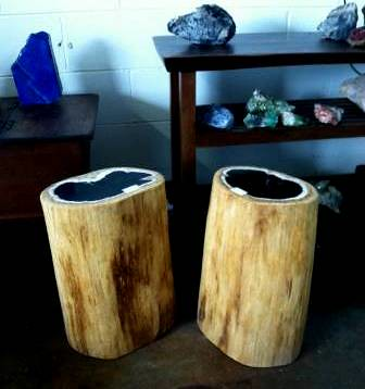 ... Rustic Fossil Wood Log Side Table | By IndoGemstone