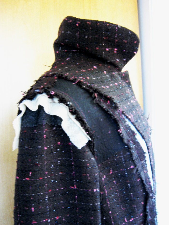boucle coat close up sleeve inside