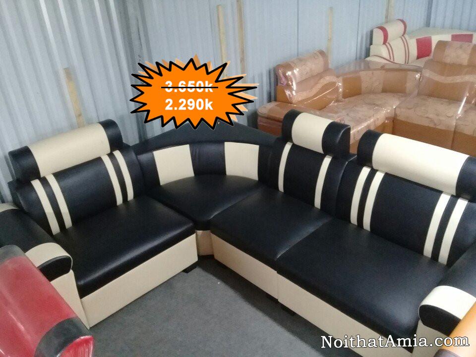 Hinh anh bo sofa goc ke soc mau trang tren nen den an tuong AmiA SFD076