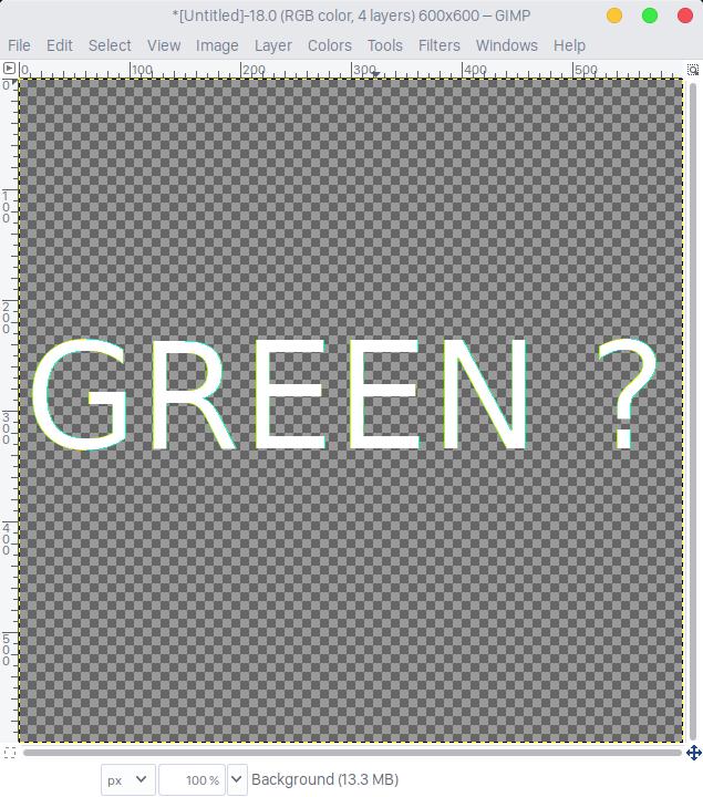 วิธีแก้ปัญหาตัวอักษรมีกรอบเขียวใน GIMP