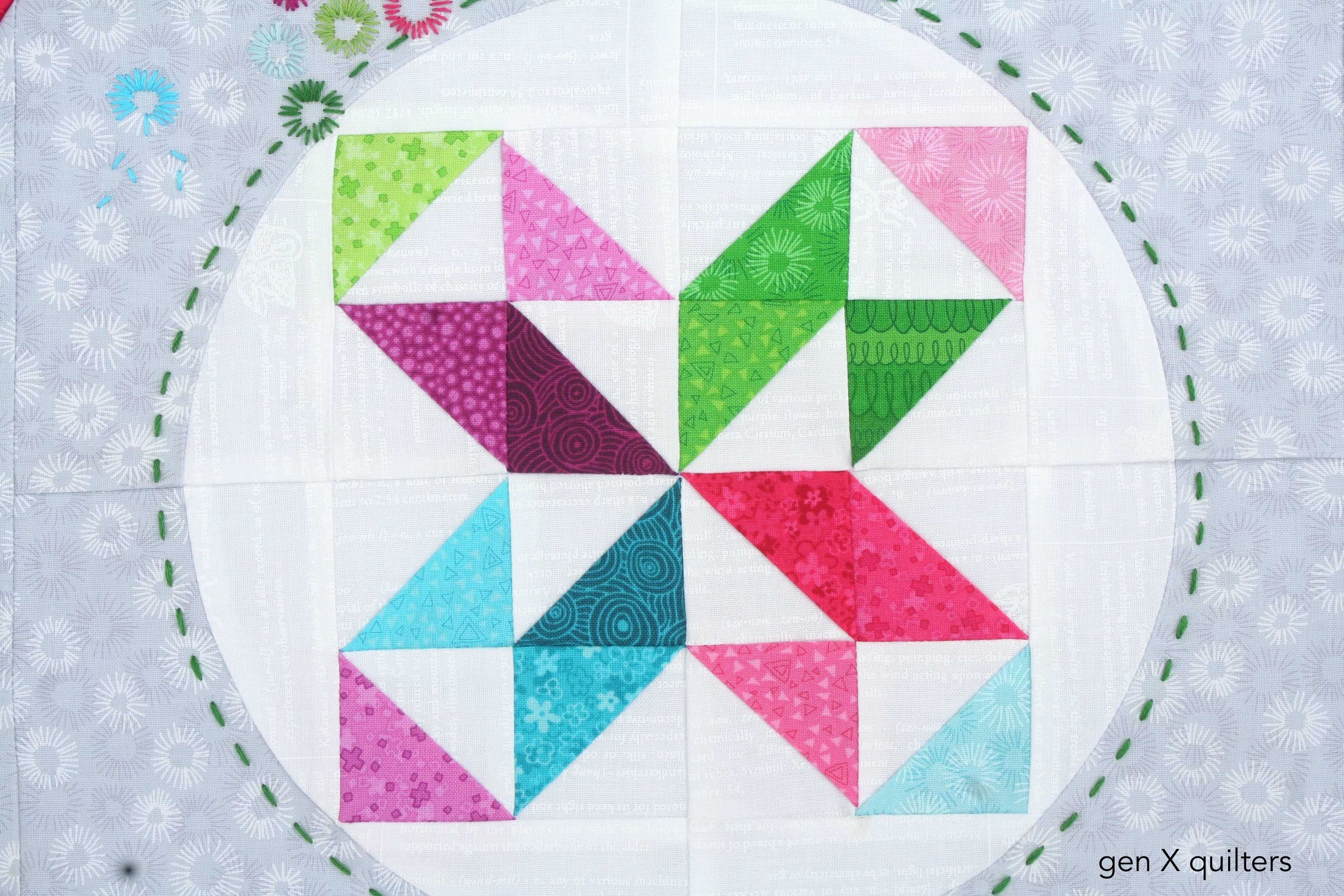 Hopscotch Hoop Quilt Patchwork Close Up