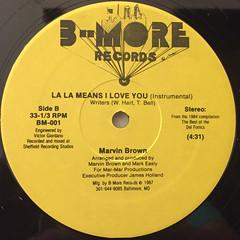 MARVIN BROWN:LA LA MEANS I LOVE YOU(LABEL SIDE-B)