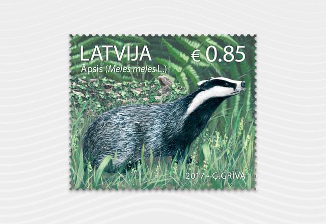 2016.gada Latvijas dzīvnieks āpsis - uz pastmarkas