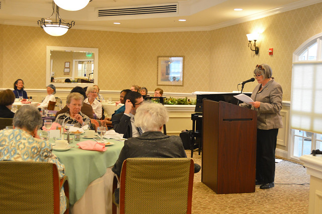 GenMtgMayLunch2017_0022; President Kathy Hutchins at podium.