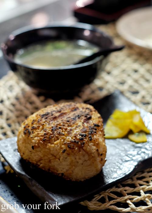 Yaki onigiri grilled rice ball at Yakitori Jin Japanese restaurant in Haberfield Sydney