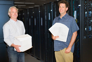 Streamlined code from Los Alamos National Laboratory scientists Reid Priedhorsky and Tim Randles aims to simplify supercomputer use. Photo courtesy Los Alamos National Laboratory.
