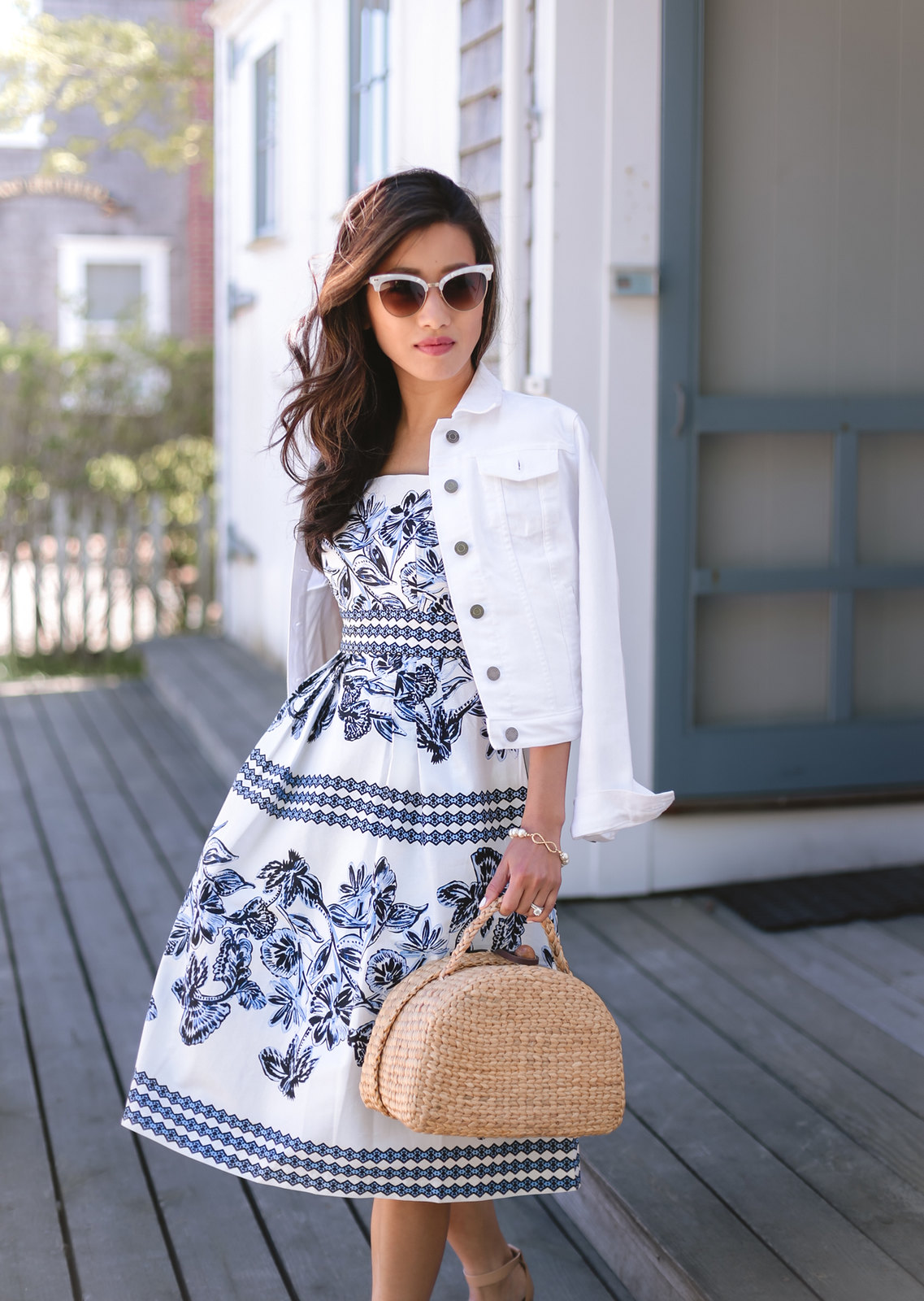 nantucket classic new england style outfit straw basket bag