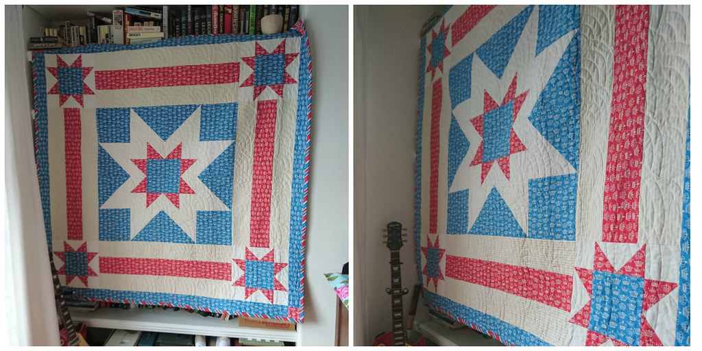 Red white and blue star quilt hanging