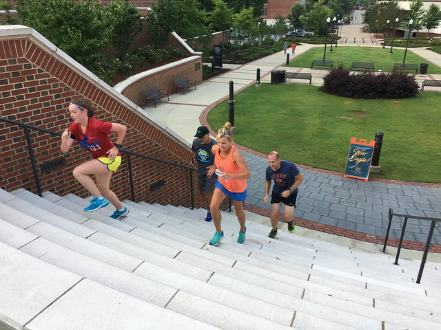 A group of parents run on Auburn's campus for the Camp War Eagle Parent Run.