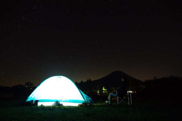 under a night sky