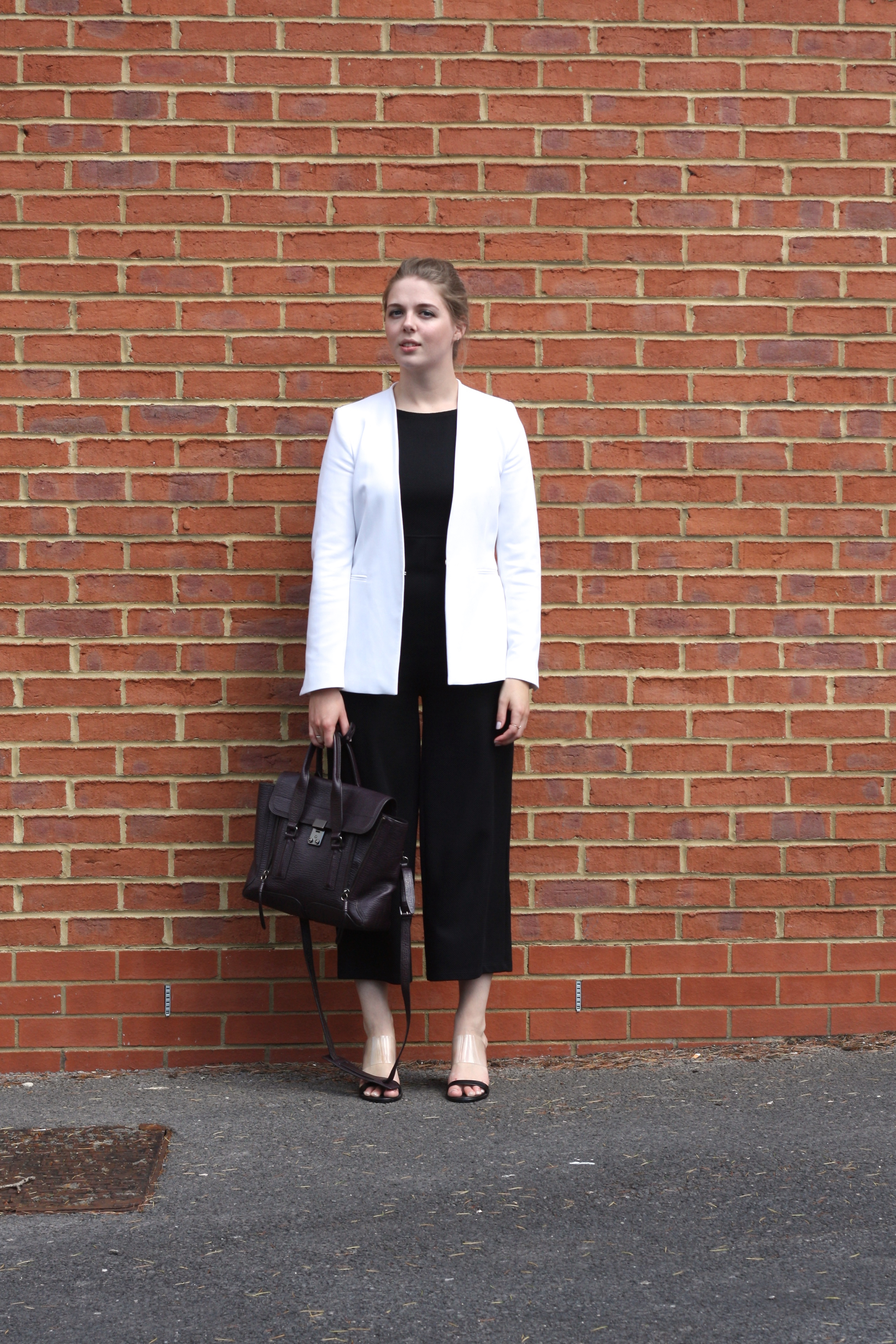 3.1 Phillip Lim Pashli medium bag, Mango perspex sandals and Zara white blazer