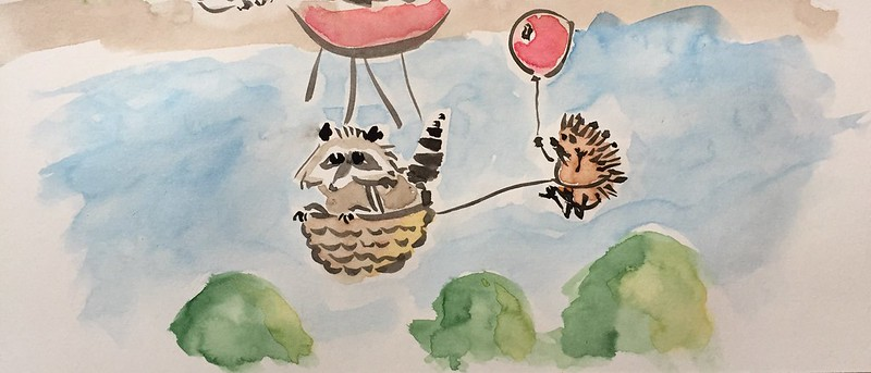 racoon in a balloon