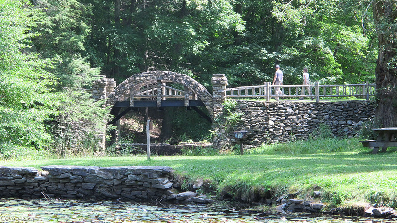 Rock bridge at Gillette Castle lily pond