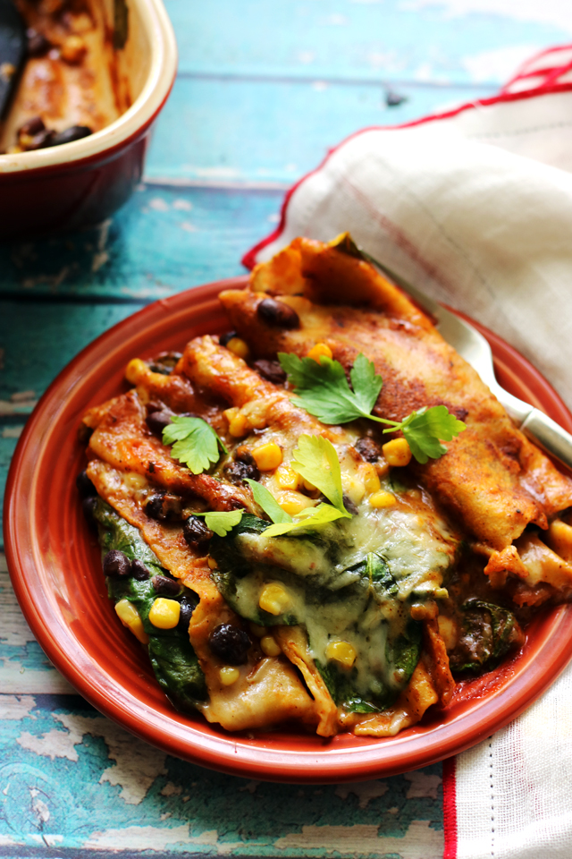 Vegetable Enchiladas with Black Beans, Corn, and Spinach