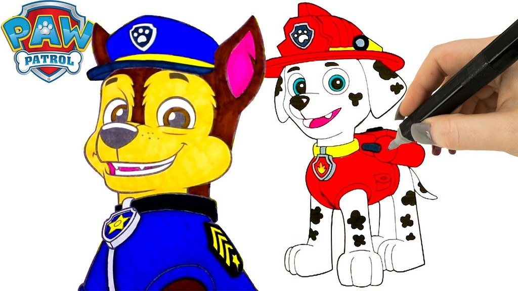 paw patrol coloring pages marshall and chase coloring book videos for kids by the toy - Paw Patrol Coloring Book