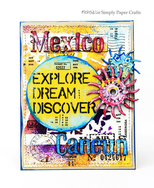 Meihsia Liu Simply Paper Crafts Mixed Media Card Vacation Mexico Simon Says Stamp Tim Holtz 2