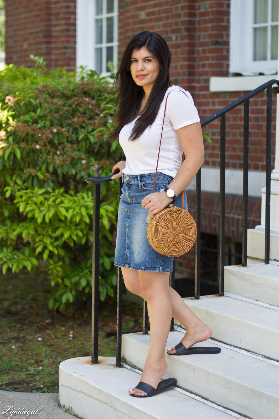 white tee, denim pencil skirt, soak slides, round straw bag-1.jpg
