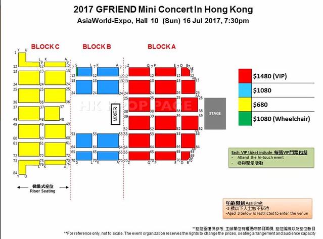 GFRIEND Mini Concert in Hong Kong Seating Plan