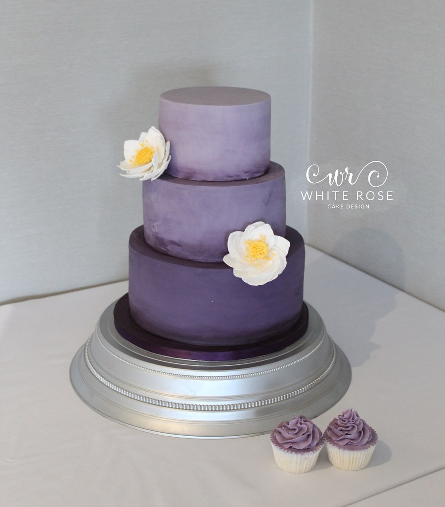 Purple Ombre Wedding Cake With Lotus Flowers By White Rose Flickr