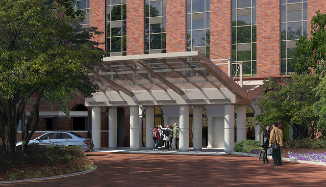 A rendering showing the glass porte cochere that has been added to the front of The Hotel at Auburn University and Dixon Conference Center.