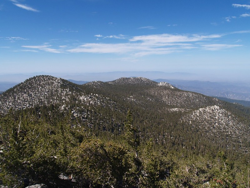 Looking west toward Jean Peak, Marion Mountain, and Newton-Drury Peak from San Jacinto Peak