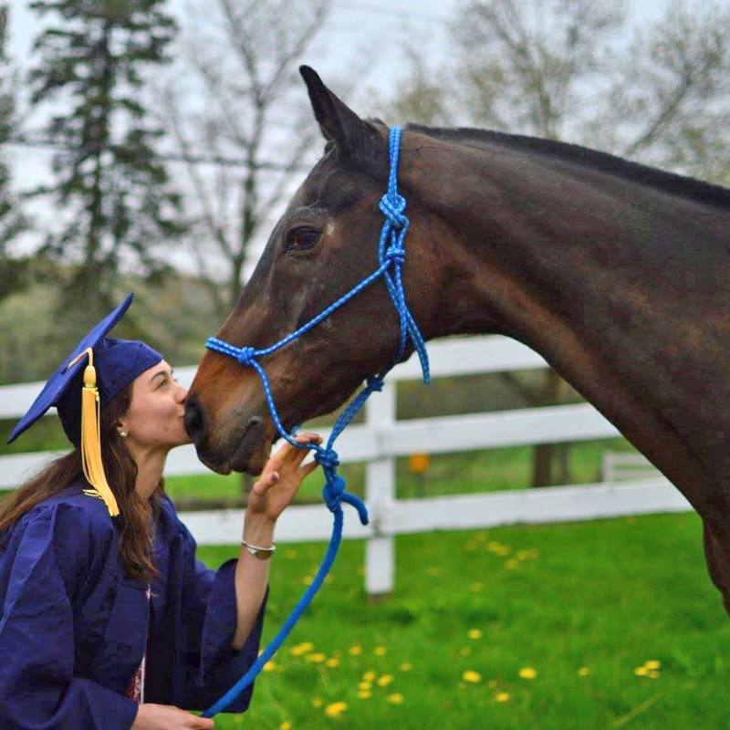 Sara Tufts, Animal Science '17, with Leo. Tufts will attend North Carolina State University College of Veterinary Medicine.