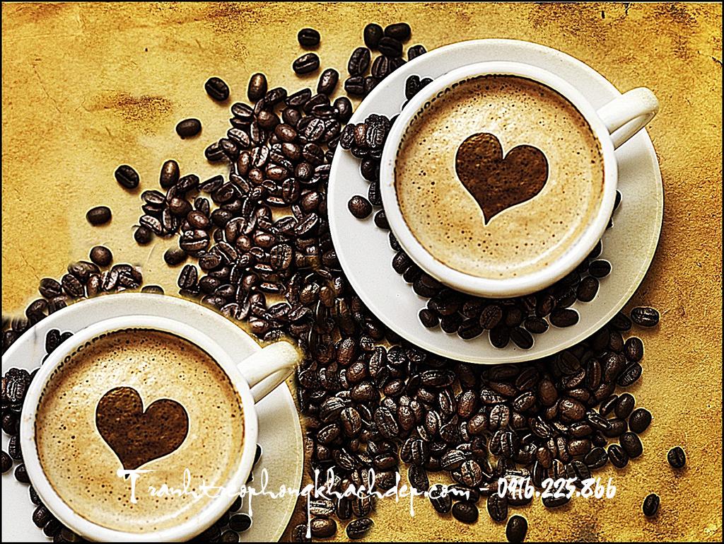 Tach cafe capuchino duoc thiet ke lam buc tranh canvas dam chat hon