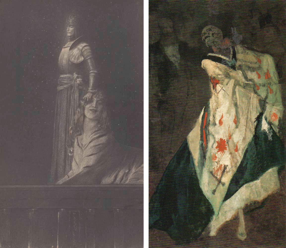 左)フェルナン・クノップフ《天使》(1889年、ベルギー王立図書館) 右)フェリシアン・ロップス《舞踏会の死神》(1865-1875年頃、レラー=ミュラー美術館)