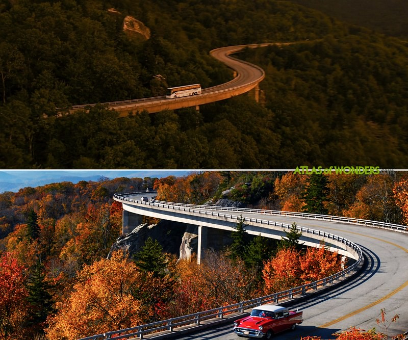 Bridge and forest scenery of the bus scene