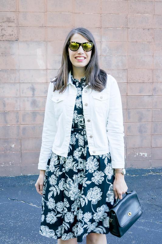 black and white floral shirt dress + white J.crew denim jacket + j.Crew espadrille wedges; casual summer look   Style On Target blog