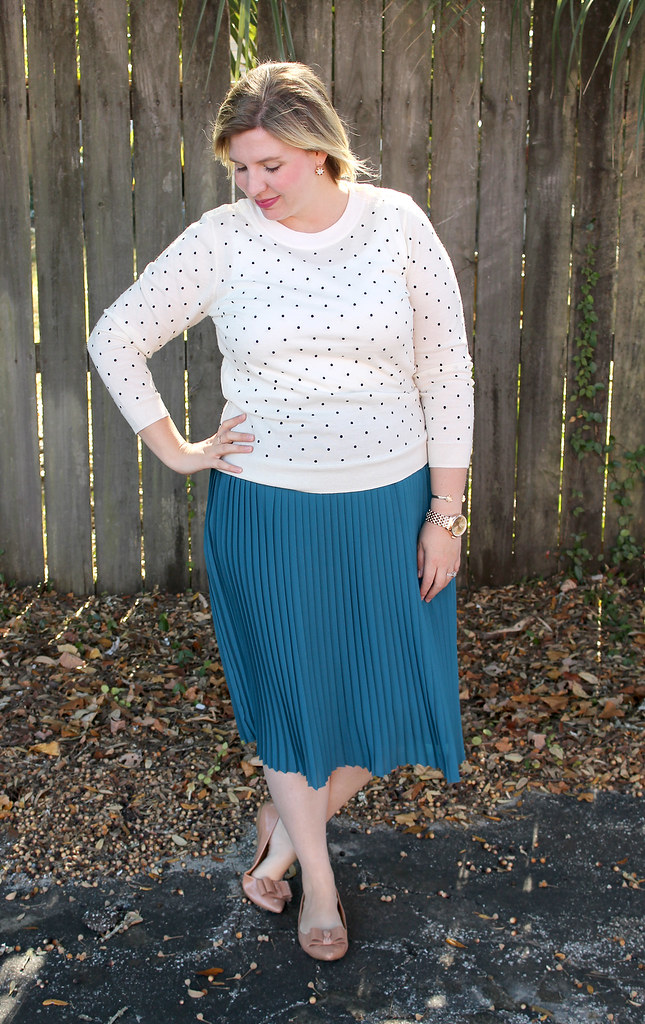 teal midi, polka dot tippi and bow flats 2