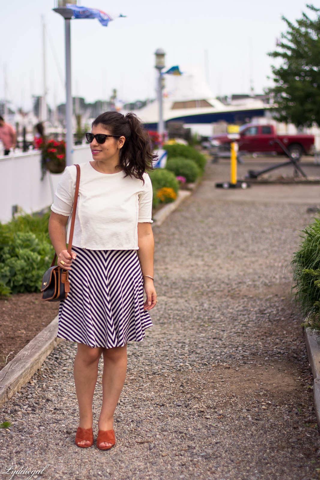 white crop top, striped skirt, madewell mule sandals.jpg